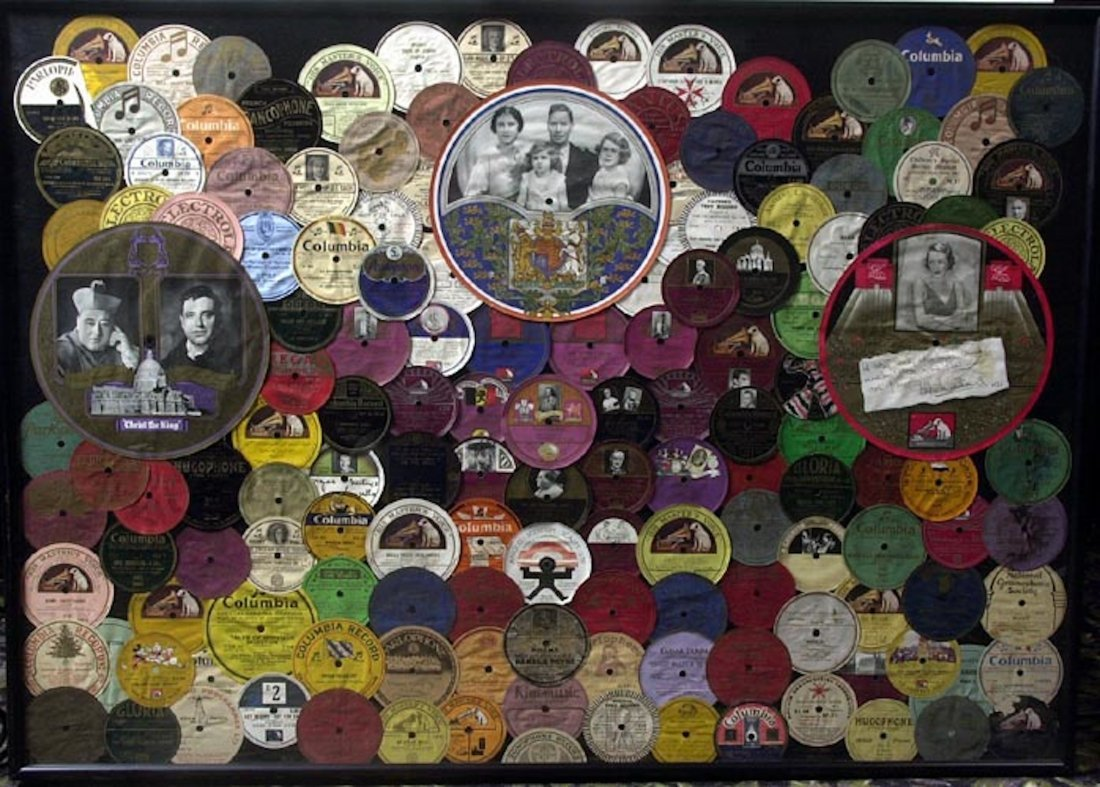 Vintage Record Labels Display