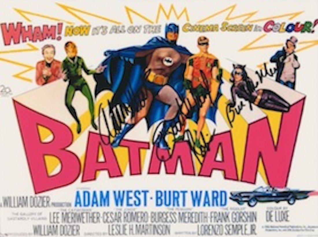 Adam West, Burt Ward & Burgess Meredith Autographed