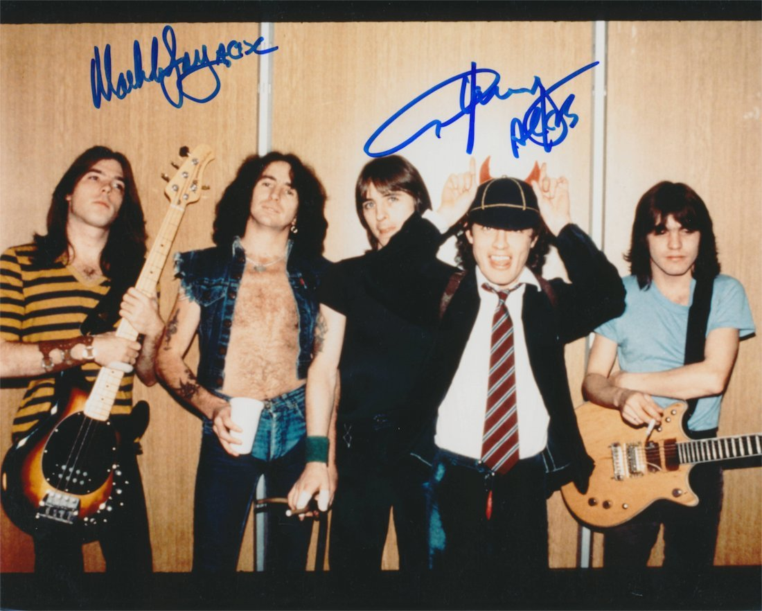 AC/DC Angus Young & Malcolm Young Autographed publicity