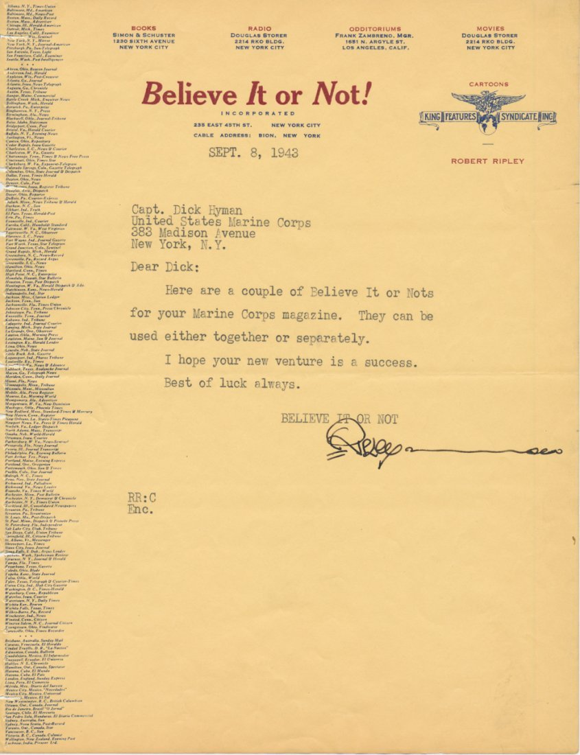 """Robert Ripley """"Believe It or Not"""" Signed Letter"""