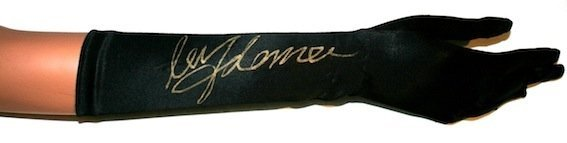 Madonna. A signed stage worn satin dress glove