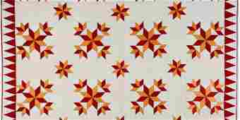 Vintage Star Patchwork Quilt in Red & Orange, c.1920s