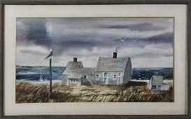"C. Robert Perrin Watercolor on Paper ""Madaket Shack"""