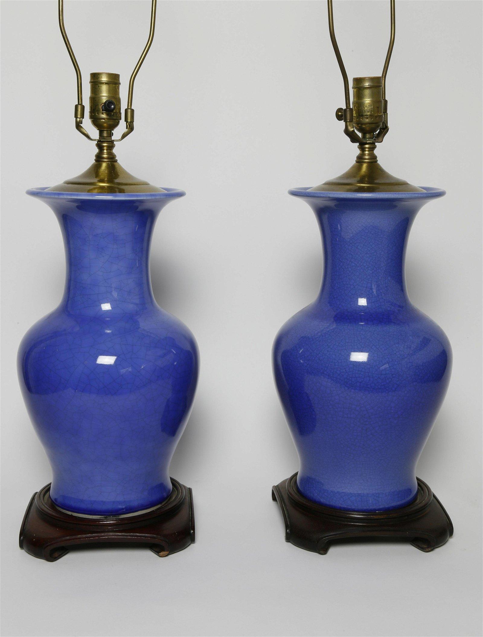 2 Cobalt Crackle Glaze Lamps with Teak Bases