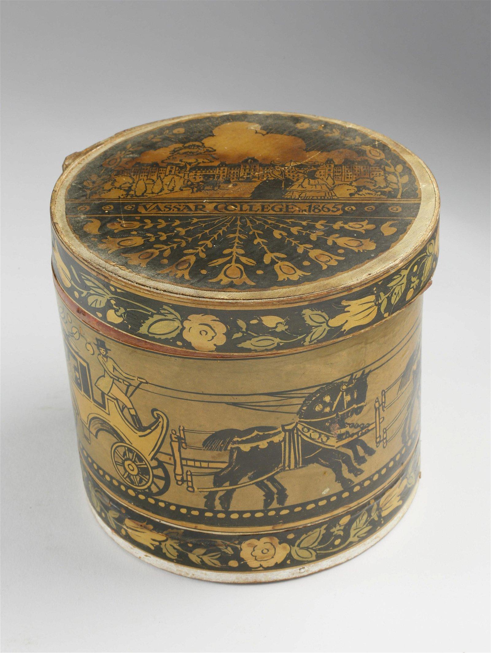 "Tony Sarg Covered Band Box, ""Vassar College, 1865"""