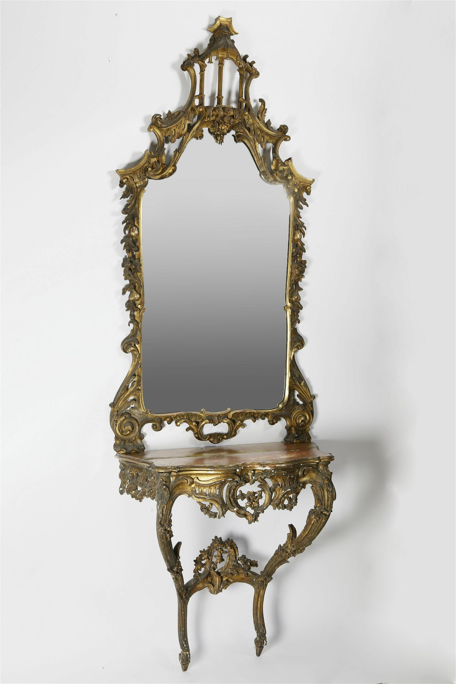 Louis XV Giltwood Mirror and Serpentine Console, 18th