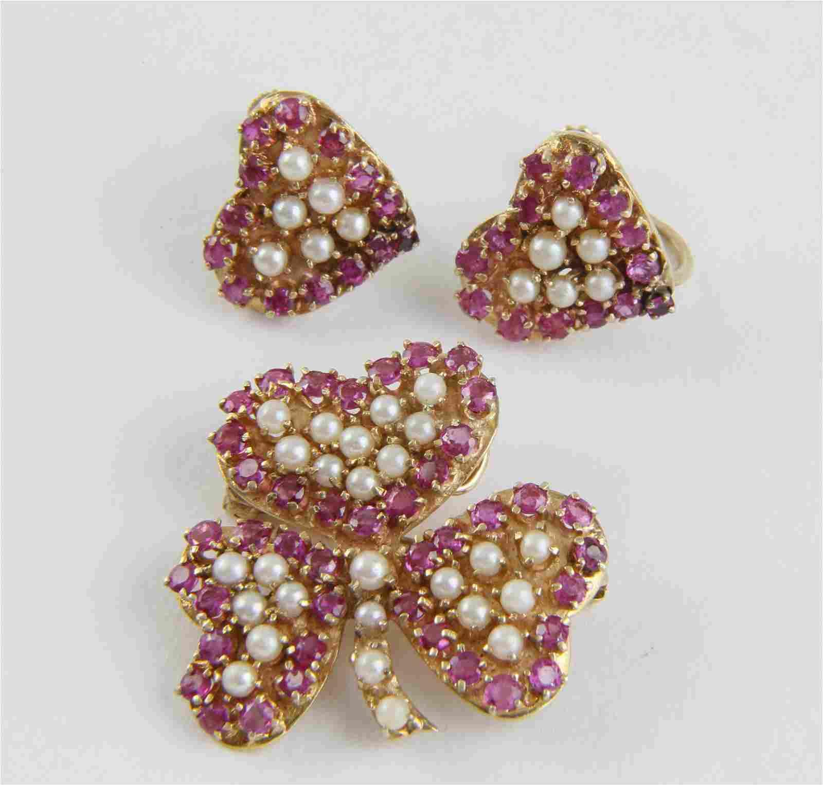 Three Piece Ruby, Pearl Brooch/Pendant, Earrings Set