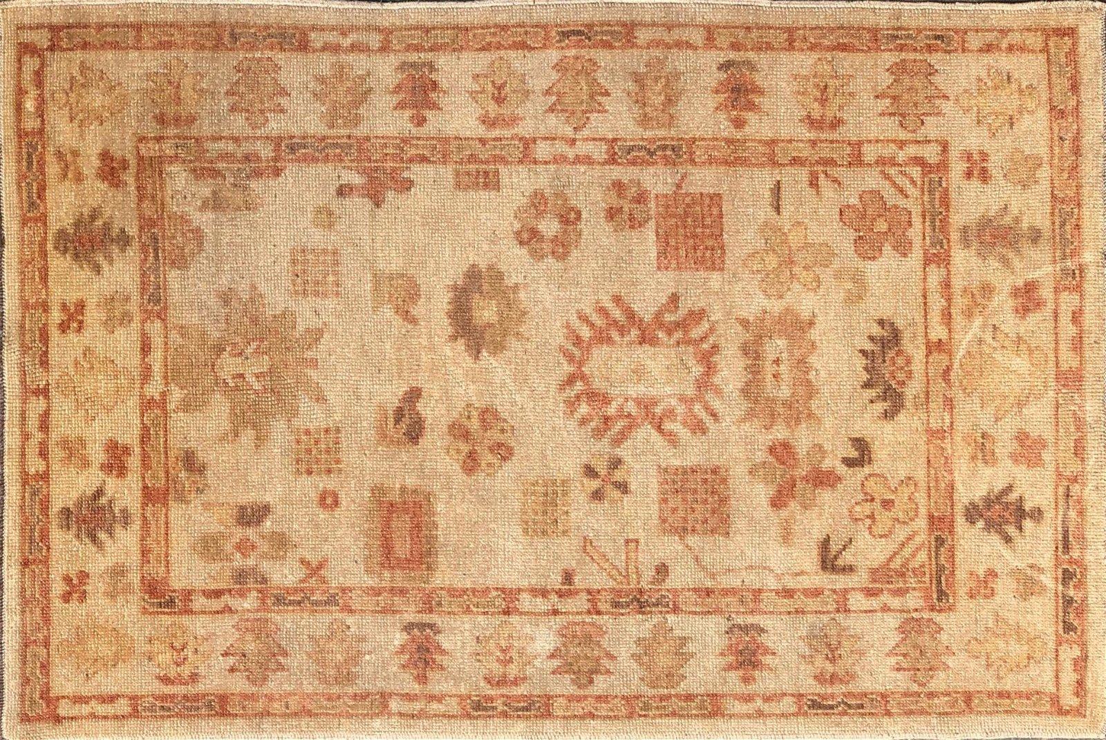 Vintage Hand Woven Turkish Oushak Carpet