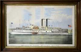 Currier  Ives Colored Lithograph Sidewheeler Drew