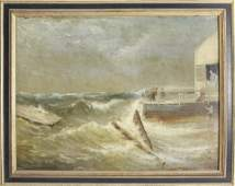 Charles Henry Gifford Oil Saving the Pier in Stormy