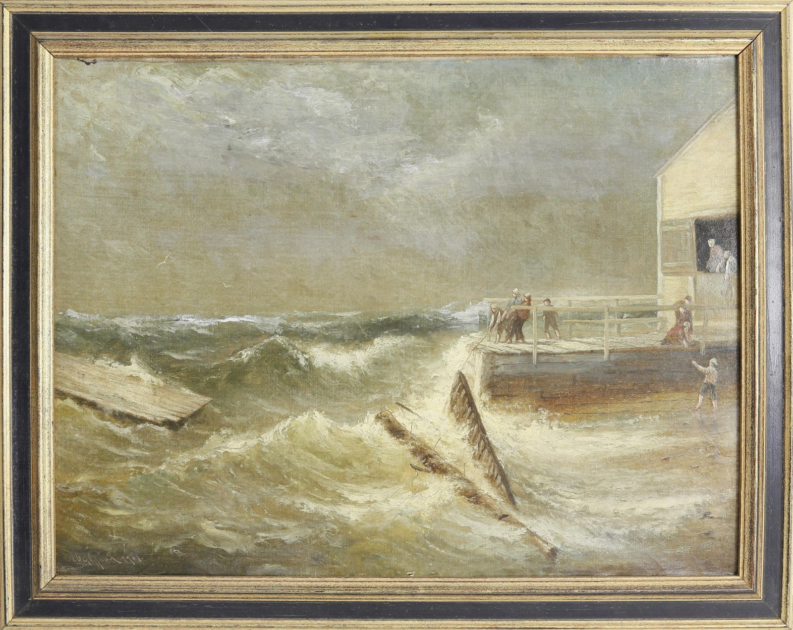 """Charles Henry Gifford Oil, """"Saving the Pier in Stormy"""