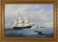 """Michael Mathews Oil on Canvas, """"Clipper Ship on the"""