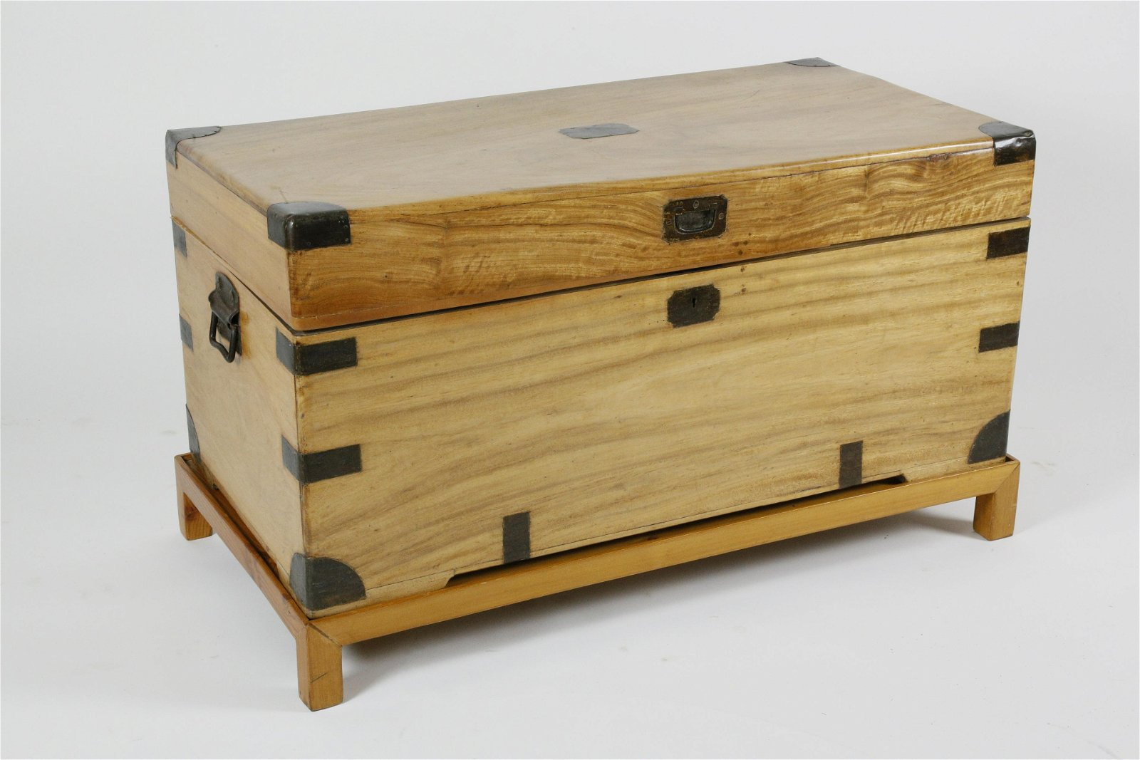 Chinese Export Brass Bound Camphor Wood Trunk on Stand