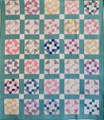 Green and White Geometric Patchwork Friendship Quilt