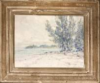 """Frank Swift Chase Oil on Artist Board """"Tropical Inlet"""
