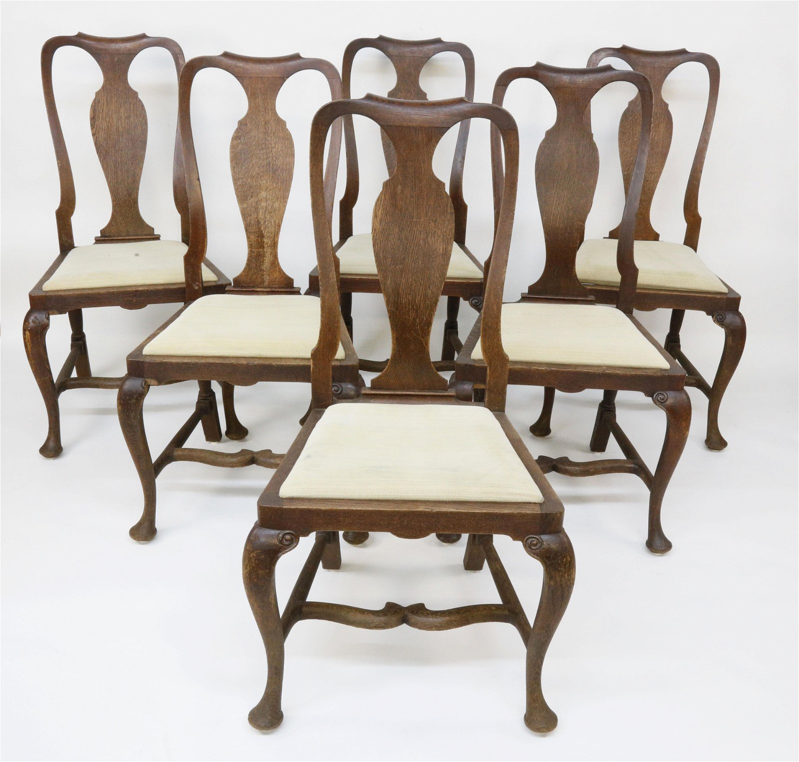 Set of 6 English Oak Queen Anne Style Side Chairs