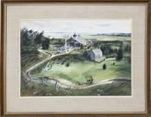 """C. Robert Perrin Watercolor, """"Life Saving Museum"""","""