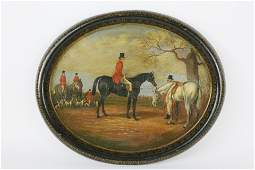 Antique Papier Mache Oval Tray Painted with an