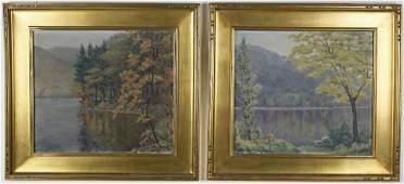 "Pair of Charles Edwin Kinkead Oils on Board, ""Lake"