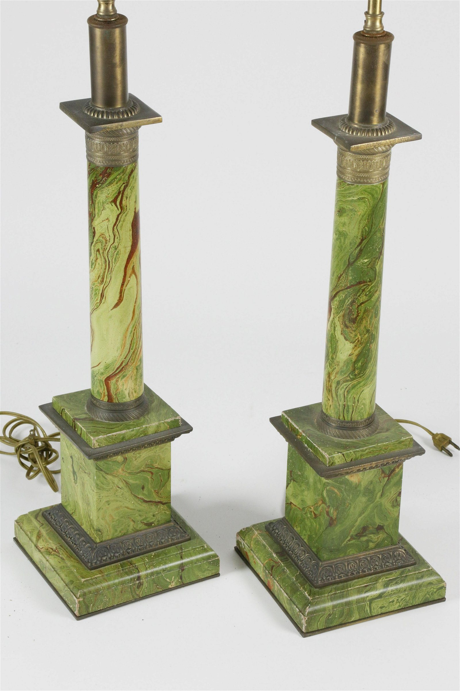 Pair of Green Faux Marble Column Lamps