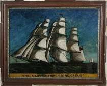 """Reverse Painting on Glass, """"The Flying Cloud"""", 19th c."""