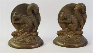 Pair of Vintage Cast Bronze Figural Squirrel Bookends