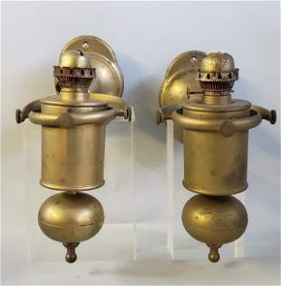 Pair of 19th Century Brass Gimbaled Kerosene Lamps