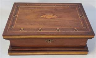 19th Century Mahogany Marquetry Inlaid Humidor Box