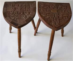 Pair of Antique English Carved Walnut Coat-of-Arms