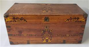 Chinese Export Brass Bound Camphorwood Trunk, 19th