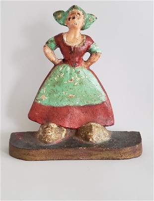 Antique Cast Iron Figural Dutch Woman Doorstop