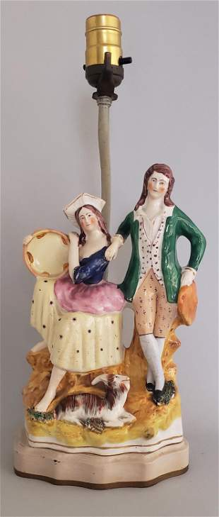 19th Century Staffordshire Figural Group Mounted as a