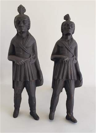 Pair of Vintage Cast Iron Figural Native American