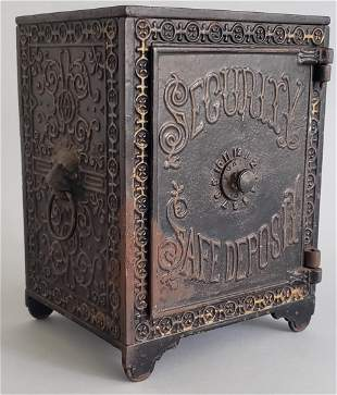 19th Century Cast Iron Safe Still Bank