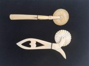 Two Antique Whaleman Made Whale Ivory and Whalebone Pie