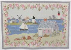"""Claire Murray Wool Hooked Rug """"Cottages and"""
