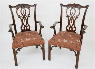 Pair Chinese Chippendale Style Open Armchairs, 20th