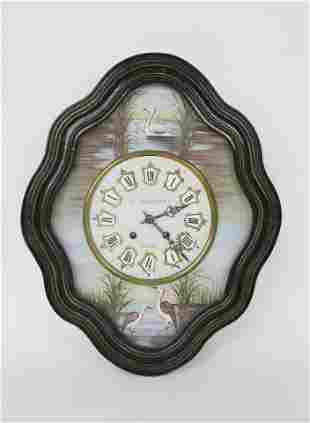 French Decorated Wall Clock Signed C. Chauvineau