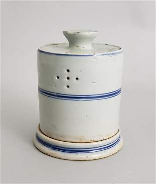19th Century Chinese Blue and White Oil Lamp with Shade
