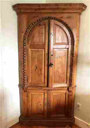 Antique English Pine Corner Cupboard