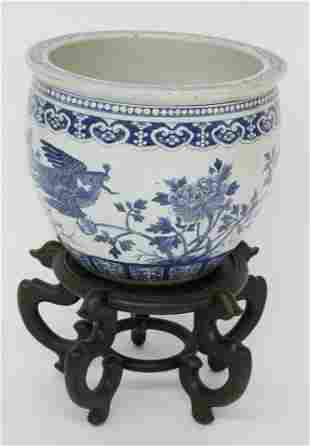 Antique Chinese Canton Style Blue and White Porcelain