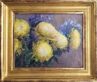 "Pamela Pindell Oil on Canvas ""Chrysanthemum Still"