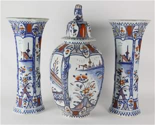 Delft Imari Pattern Ceramic Garniture Set, late 19th