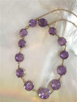 Victorian Amethyst Bracelet Set with 13 Round Faceted