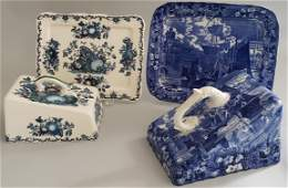 Two Blue and White English Wedgwood Porcelain Cheese