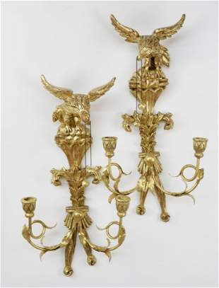 Pair of Italian Carved and Gilt Wood Eagle Candle