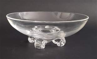 John Dreves Signed Steuben Clear Crystal Scroll Footed