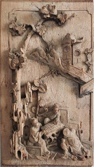 Antique Chinese Carved Wood Landscape Panel