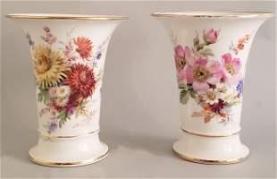 Pair of Meissen Floral Decorated Beaker Vases