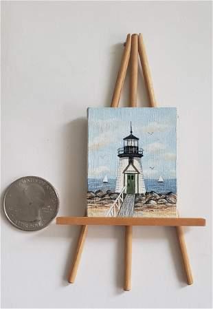 "Fine Miniature Oil on Canvas, ""Brant Point Light"","